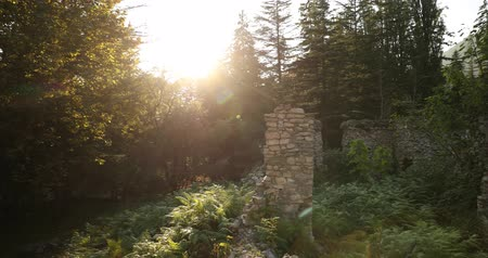 príncipe : Zeda-gordi, Georgia. Remains Of Palace Of Princes Of 18 Century In Park Dadiani In Canyon Okatse In Sunset Or Sunrise Time. Sun Sunshine With Natural Sunlight And Sun Rays Through Trees