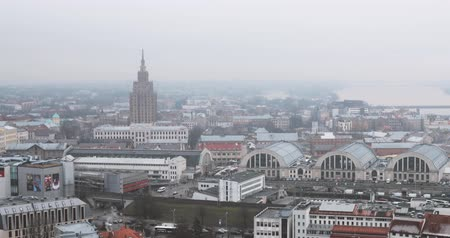 stalin : Riga, Latvia - December 19, 2017: Top View Cityscape In Misty Fog Rainy Day. Latvian Academy Of Sciences, Bus Station Riga International Coach Terminal And Riga Central Market