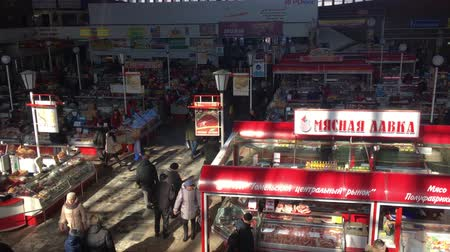 açougue : Gomel, Belarus - March 24, 2018: Local Meat Food Market In Gomel. This Is An Example Of Existing Food Market In Belarus
