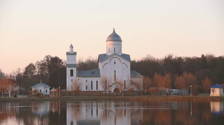 nevsky : Gomel, Homiel Belarus. St. Alexander Nevsky Church in Gomel, Homiel Belarus. Orthodox Church At Sunset Or Sunrise In Autumn Season Stock Footage