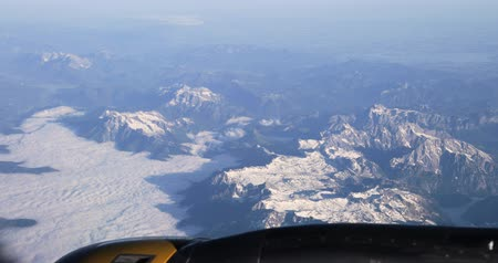 slowakije : Aerial View From Airplane Window On Snowy Top Of Tatra Mountains In Summer Day. High Attitude