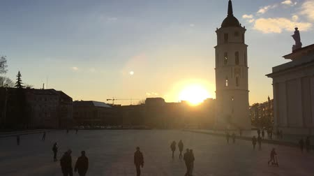 vilnius old town : Vilnius, Lithuania. Cathedral Square Near Cathedral Basilica Of St. Stanislaus And St. Vladislav With The Bell Tower In Spring Sunset Sunny Evening