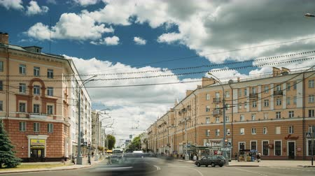 lenin : Gomel, Belarus - June 6, 2018: Lenin avenue street in sunny summer day