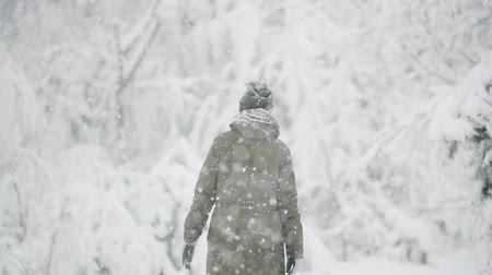 závěj : Young Beautiful Caucasian Girl Woman Dressed In Jacket Walking In Winter Forest In Snowy Day. Slo-mo Slow Motion Slow-mo Dostupné videozáznamy