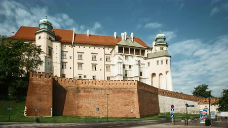 wawel : Krakow, Poland. Wawel Castle In Summer Day. Famous Landmark. UNESCO World Heritage Site. Fortified Architectural Complex In Cracow, Poland Stock Footage