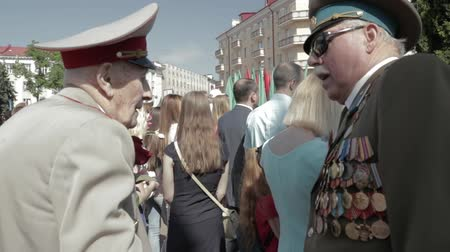 wwii : Gomel, Belarus - May 9, 2018: Ceremonial Procession Of Parade. Military And Civilian People On The Festive Decorated Street. Celebration Victory Day 9 May In Gomel Homiel Belarus