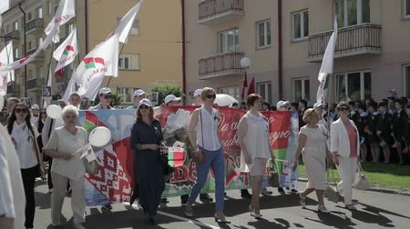 civilní : Gomel, Belarus - May 9, 2018: Immortal Regiment Action March At Parade Procession Of People From Red Cross With Portreits Of WW2 Heroes. Annual Victory Day Celebration 9 May