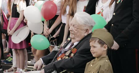 wwii : Gomel, Belarus - May 9, 2018: Great Patriotic War Veteran Visiting Celebration Victory Day 9 May In Gomel Homiel Belarus