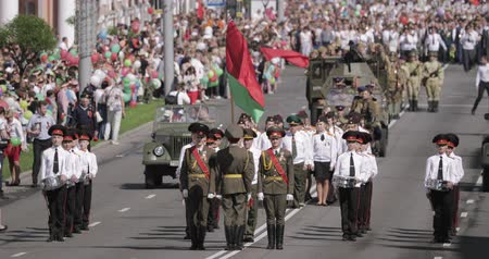 bělorusko : Gomel, Belarus - May 9, 2018: Ceremonial Procession Of Parade. Military And Civilian People On The Festive Decorated Street. Celebration Victory Day 9 May In Gomel Homiel Belarus
