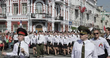 sivil : Gomel, Belarus - May 9, 2018: Ceremonial Procession Of Parade. Military And Civilian People On The Festive Decorated Street. Celebration Victory Day 9 May In Gomel Homiel Belarus