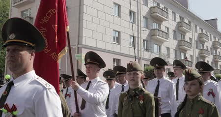 civilní : Gomel, Belarus - May 9, 2018: Ceremonial Procession Of Parade. Military And Civilian People On The Festive Decorated Street. Celebration Victory Day 9 May In Gomel Homiel Belarus