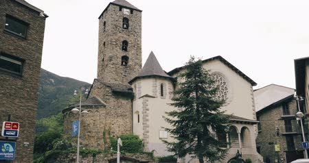 herceg : Andorra La Vella, Andorra - May 15, 2018: Prince Benlloch Square Near Famous Church Of Saint Esteve. Esglesia De Sant Esteve Located On Placa Del Princep Benlloch. Cultural Heritage