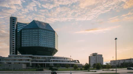 Minsk, Belarus - July 10, 2018: National Library Building In Summer Evening Sunset Time. Famous Landmark. Time Lapse, Timelapse, Time-lapse