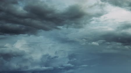 on nature : Cloudy Sky. Dramatic Sky With Fluffy Clouds In Sunny Day Before Storm Stock Footage