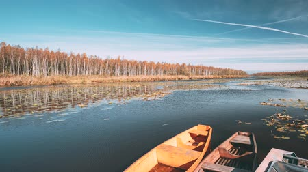 Lake Or River And Old Rowing Fishing Boats In Beautiful Autumn Sunny Day Stok Video