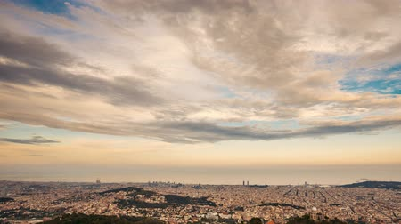 Barcelona, Spain. Aerial View Evening Panorama Of The City Cityscape