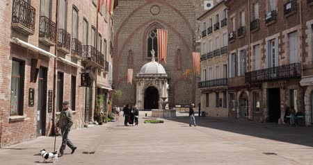 baptist : Perpignan, France - May 16, 2018: People Walking On Leon Gambetta Square And Cathedral Basilica Of Saint John The Baptist Of Perpignan In Sunny Summer Day