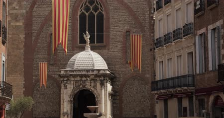 baptist : Perpignan, France. Leon Gambetta Square And Cathedral Basilica Of Saint John The Baptist Of Perpignan In Sunny Summer Day Stock Footage