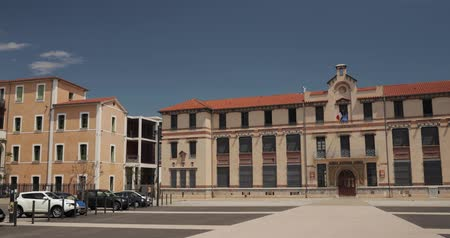 образовательный : Perpignan, France. Jean Moulin College In Sunny Spring Day