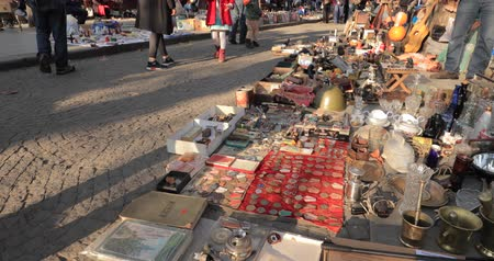 antiques : Tbilisi, Georgia. Shop Flea Market Of Antiques Old Retro Vintage Things On Dry Bridge. Swap Meet In Tbilisi Stock Footage