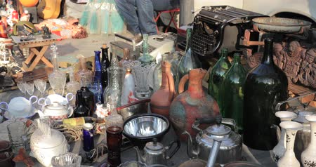 collectible : Tbilisi, Georgia. Shop Flea Market Of Antiques Old Retro Vintage Things On Dry Bridge. Swap Meet In Tbilisi Stock Footage