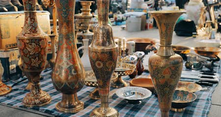 collectible : Tbilisi, Georgia. Close View Of Eastern Jugs In Shop Flea Market Of Antiques Old Retro Vintage Things On Dry Bridge In Tbilisi