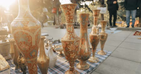 antiques : Tbilisi, Georgia. Close View Of Eastern Jugs In Shop Flea Market Of Antiques Old Retro Vintage Things On Dry Bridge In Tbilisi