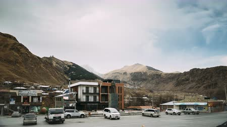 Stepantsminda, Georgia. Traffic On Square In Kazbegi