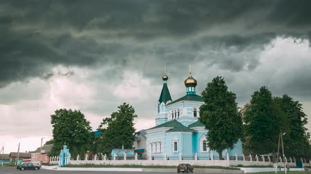 ortodoks : Belarus. St. John The Korma Convent Church In Korma Village, Dobrush District, Belarus. Famous Orthodox Church Against Background Of An Approaching Storm