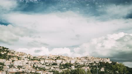 san biagio : Monte San Biagio, Italy. Residential Area. Cityscape In Autumn Day Under Blue Cloudy Sky Stock Footage