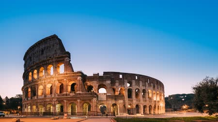flavian : Rome, Italy. Colosseum Also Known As Flavian Amphitheatre In Night Time