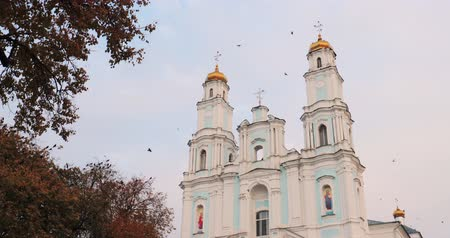 mary : Hlybokaye Or Glubokoye, Vitebsk Region, Belarus. Birth Of Virgin Cathedral Dedicated To Church Of Discalced Carmelites. Assumption Of Blessed Virgin Mary In Autumn Day Stock Footage