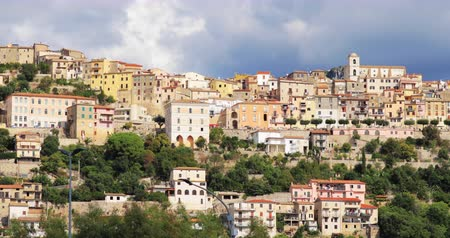 san biagio : Monte San Biagio, Italy. Top View Of Residential Area. Cityscape In Autumn Day Under Blue Cloudy Sky