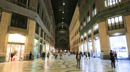 neapol : Naples, Italy - October 16, 2018: Interior Of Galleria Umberto I
