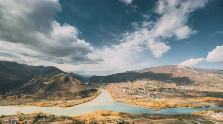 Грузия : Mtskheta Georgia. Top View Skyline Of Ancient Town Located At Valley Of Confluence Of Rivers Mtkvari Kura, Aragvi In Picturesque Highlands