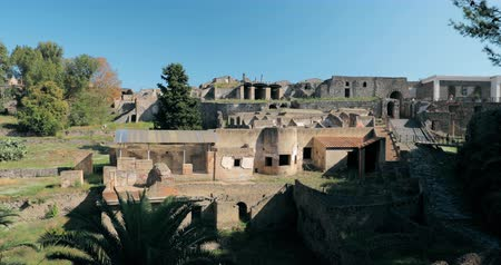 arkeolojik : Pompeii, Italy. View Of Pompeii Archaeological Park In Sunny Day. UNESCO World Heritage Site