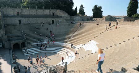 Pompeii, Italy - October 18, 2018: View Of Great Theatre Of Pompey In Sunny Day. UNESCO World Heritage Site