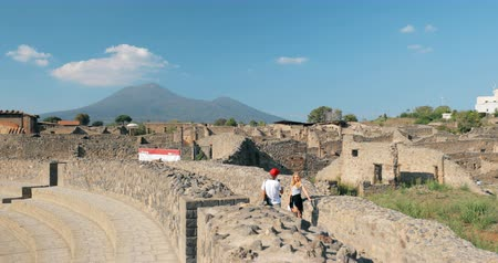 Pompeii, Italy - October 18, 2018: People Walking Near Great Theatre Of Pompey In Sunny Day. UNESCO World Heritage Site