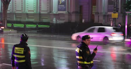 inspektor : Tbilisi, Georgia - November 22, 2018: Traffic Road Police Officers Policeman Inspectors Regulates Traffic On Rustaveli Avenue. Police Provide Security Dostupné videozáznamy