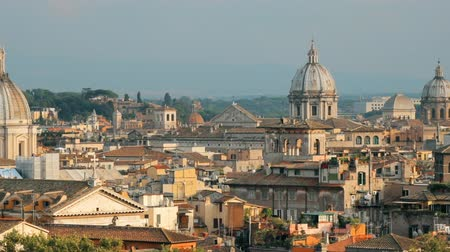 famous pace : Rome, Italy. Cityscape Skyline With Pantheon, Altar Of The Fatherland And Other Famous Lanmarks In Old Historic Town. Panorama, Panoramic View