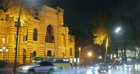 Джордж : Tbilisi, Georgia - November 22, 2018: People Waiting Bus On Bus Stop Near Georgian National Opera and Ballet Theater of Tbilisi In Night Rustaveli Avenue Street