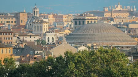 famous pace : Rome, Italy. Cityscape Skyline With Pantheon And Other Famous Lanmarks In Old Historic Town Stock Footage