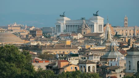 famous pace : Rome, Italy. Cityscape Skyline With Pantheon, Altar Of The Fatherland And Other Famous Lanmarks In Old Historic Town Stock Footage