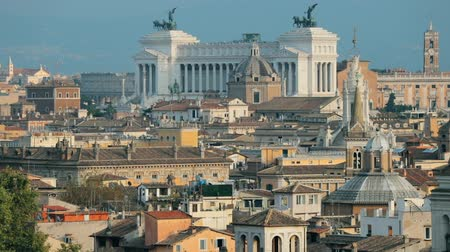 emanuele : Rome, Italy. Cityscape Skyline With Altar Of The Fatherland And Other Famous Lanmarks In Old Historic Town Stock Footage