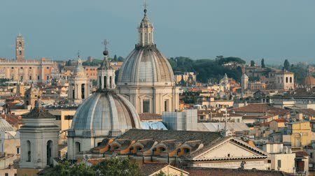famous pace : Rome, Italy. Cityscape Skyline With Famous Lanmarks In Old Historic Town Stock Footage