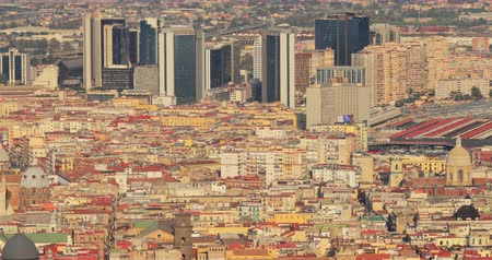 neapol : Naples, Italy. Top View Cityscape Skyline With Modern Skyscrappers In Sunny Day Wideo