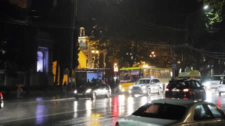 Tbilisi, Georgia - November 22, 2018: Traffic Road Police Car With Active Rooftop Flashing Lights Provide Security. Emergency Lights System Els Activated Driving In Night Shota Rustaveli Avenue Street
