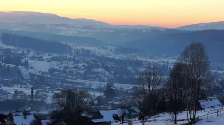 faház : Sunset winter mountain village landscape