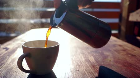copinho : Coffe winter hot cup table Stock Footage