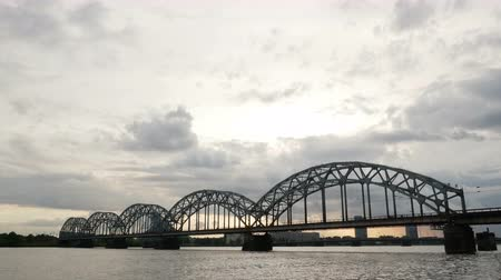 kereszt : Bridge river sunrise cloudy